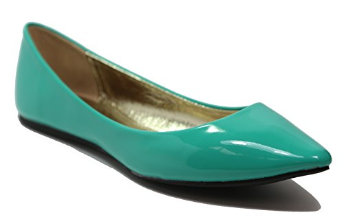 Walstar Womens Classic Pointy Toe Ballet PU Slip On Patent Leather Flats