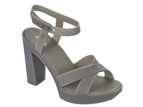 Melissa Women's Sandal with Heel 10 cm Plateau cm 2 Grey 100% Rubber Made in Brazil