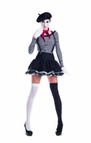 Party King Women's Mesmerizing Mime 7 Piece Costume Set with Hat, Black/White, Large