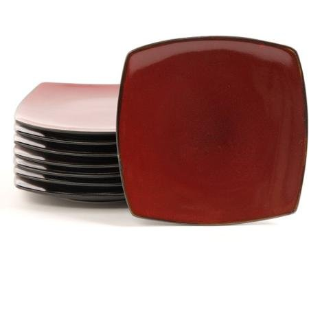 Gibson Home Soho Lounge 7.5'' Square Dessert Plates, Red, Set of 8