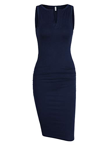 Women's Sleeveless Ruched Sundress Sheath Summer Knee Length Bodycon V Neck Club Fitted Casual Basic Dress (Navy Blue, Medium) by Missufe