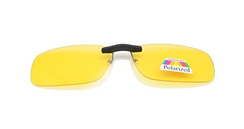 Yellow Adult Unisex Sunglasses Clip On Glasses Night Vision Sun UV Protective L Size