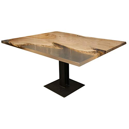Hope Woodworking Live Maple Dining Table with Clear Epoxy, 44x55.5 ()