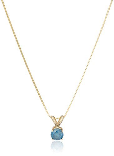 1/2 CT Blue Diamond Solitaire Pendant 14K Yellow Gold