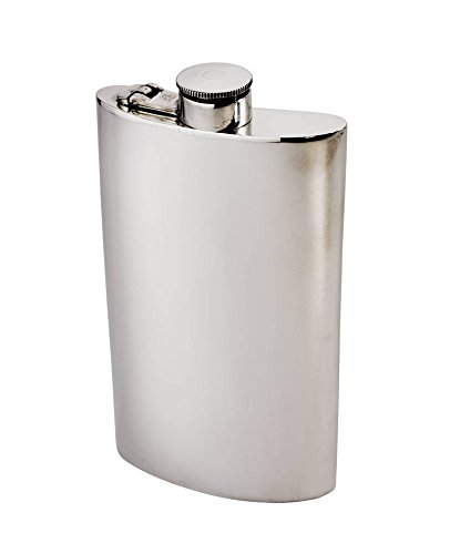 Wentworth Pewter- Large Plain Pewter Captive Top Kidney Flask,Hip Flask, Spirit Flask, 8oz capacity ()