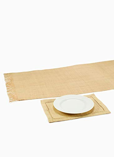 Serene Spaces Living Natural Raffia Runner, Measures 5' Long and 2' Wide, Dining Table -