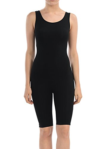 7Wins Women Catsuit Cotton Lycra Tank Bermuda Short Yoga Bodysuit Jumpsuit (Small, Black)