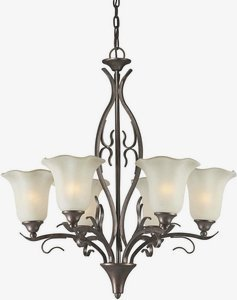 (Forte Lighting 2505-06-27 Transitional 5-Light Chandelier, Black Cherry Finish with Shaded Umber)