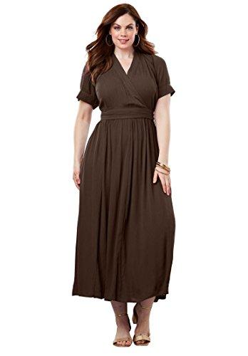 01e762242f4 Roamans Women s Plus Size Wrap Maxi Dress in Crinkle