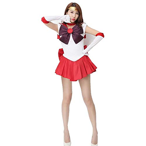 OURCOSPLAY Women's Sailor Moon Hino Rei Cosplay Costume 6 Pcs Set (Women XL)
