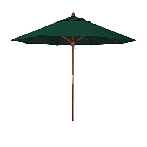 California Umbrella 9' Round Hardwood Frame Market Umbrella, Stainless Steel Hardware, Push Open, Sunbrella Forest (Round Wood Canopy)