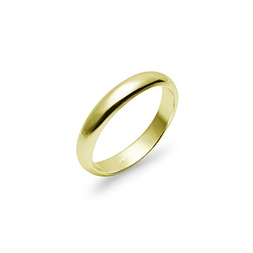 High Polish 4mm Plain Comfort Fit Wedding Band Ring Yellow Gold Flashed (4mm Comfort Fit Ring Band)