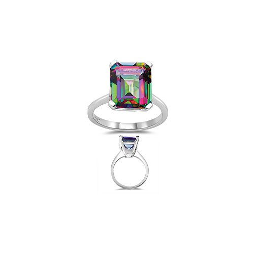 5.89 Ct 12x10 mm AAA Emerald Mystic Fire Topaz Solitaire Ring-10KW Gold - Valentine's Day (Mystic Fire Topaz Emerald)