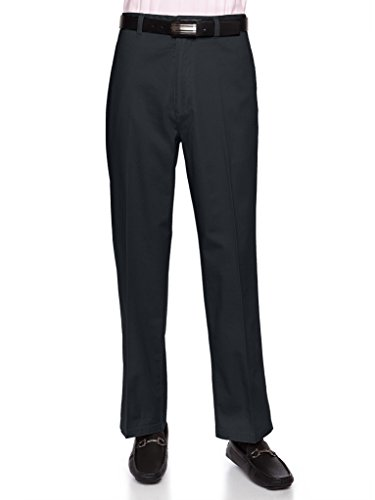 AKA Men's Wrinkle Free Cotton Twill - Traditional Fit Slacks Flat-Front Chino Straight-Legs Casual Pants Charcoal 46 Short (Traditional China)