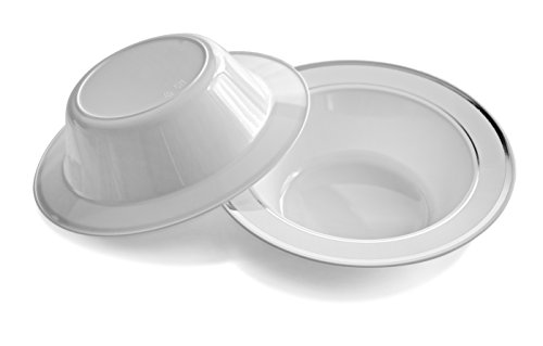 OCCASIONS 120 PACK, Heavyweight Disposable Wedding Party Plastic Bowls (6 oz Ice cream Bowls, White/Silver Rim)