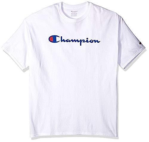 Champion Men's Classic Jersey Script T-Shirt, White, M