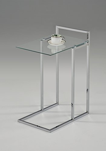 Glass Wide End Table - Chrome Finish / Clear Tempered Glass Snack Side End Table 25