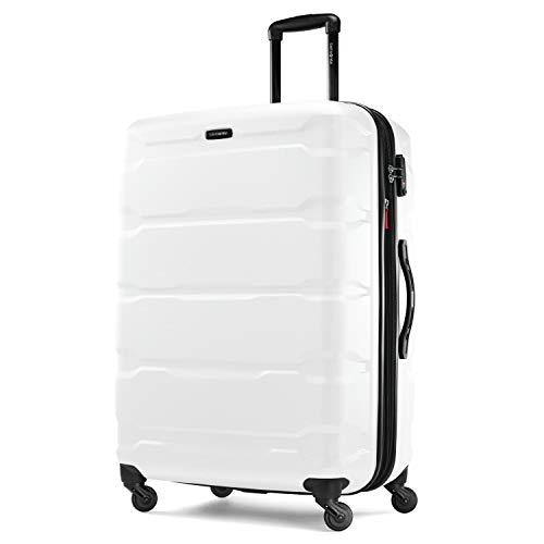 Samsonite Omni PC Hardside Expandable Luggage with Spinner Wheels, White, Checked-Large 28-Inch