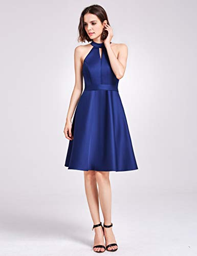 Dunkel Ärmel Blau Damen 05892 Ever Ballonkleid Pretty aktiv Sommer Kleid 1 Knielang Casual ohne tPn46gBq