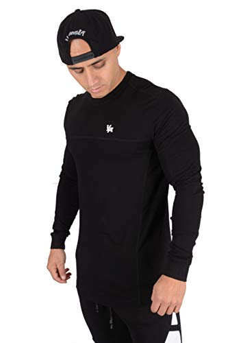 (YoungLA Men's Long Sleeve Pullover T-Shirt Soft Cotton 416 Black Small)