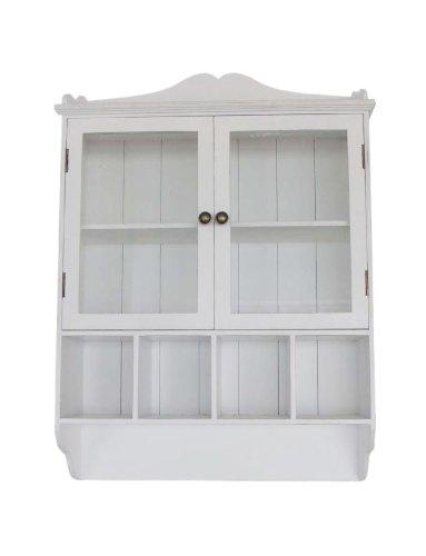 Wandschrank Mit Glastüren Wandregal Weiß Holz Shabby Landhaus