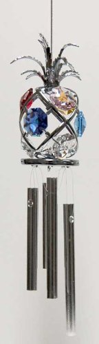Chrome Plated Wind Chime Sun Catcher or Ornament..... Pineapple with Mixed Color Swarovski Austrian Crystal by Crystal Delight by Mascot -  Mascot International Inc, Berkeley, CA