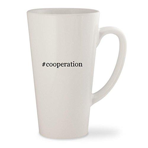 #cooperation - White Hashtag 17oz Ceramic Latte Mug - Sunglasses Cooper Anderson