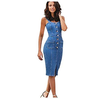 Excursion Clothing Jean Overalls Dress for Women Shoulder Straps Mini Denim Dress Slim Fit Button Dress with Pocket