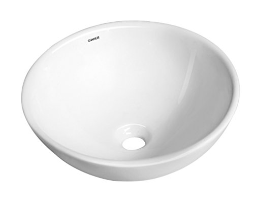 CHANGIE 6050W Above Counter Round Top Mount Vanity Bathroom Ceramic Vessel Basin,White,16×16 inches