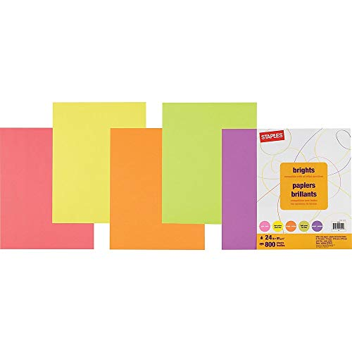 (Staples 578341 Brights 24Lb. Colored Paper Assorted 800/Pack)