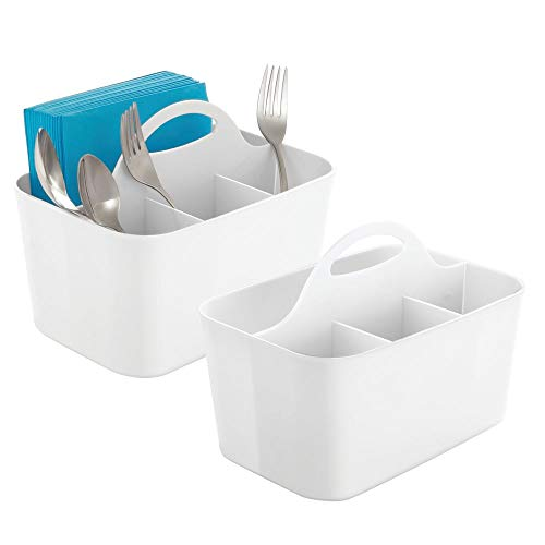 (mDesign Plastic Cutlery Storage Organizer Caddy Bin - Tote with Handle - Kitchen Cabinet or Pantry - Basket Organizer for Forks, Knives, Spoons, Napkins - Indoor or Outdoor Use - 2 Pack, White)