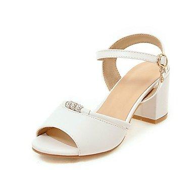 RainbowElk Women's Sandals Spring Summer Comfort Leatherette Dress Casual Chunky Heel Buckle Beige Black White Walking , white , us6 / eu36 / uk4 / - Women For Carvela