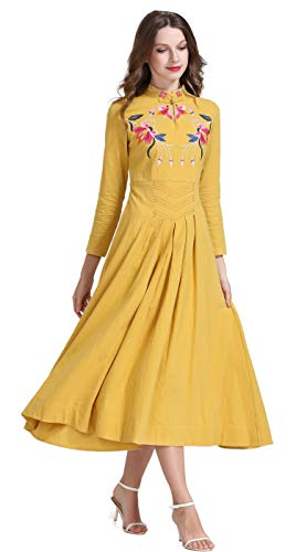 Shineflow Women's Long Sleeve Chinese Traditional Style Phoenix Floral Embroidered Long Dress (M, Yellow)