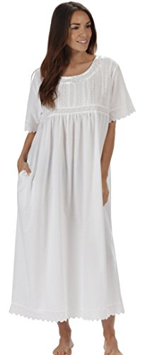 (The 1 for U Nightgown 100% Cotton Sizes XS-3XL Helena (Small, White - Short Sleeves))