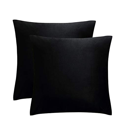 JUSPURBET Decorative Pillow Covers,Pack of 2 Velvet Throw Pillows Cases for Couch Bed Sofa,Soild Color Soft Pillowcases,16x16 Inches,Black]()