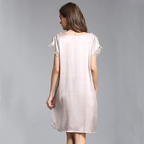 Bata Cómodo Sólido Elegante Basic Verano Pijama Las De Manera Señoras Ropa Corta Manga Silber Color Dormir La Suave Camisón 8HTw7