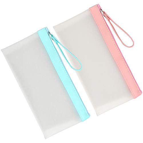 - Meetory 2 Pack Matte Translucent Pen Case,Cosmetic Makeup Bag with Zipper for Boys and Girls(Pen Not Include)