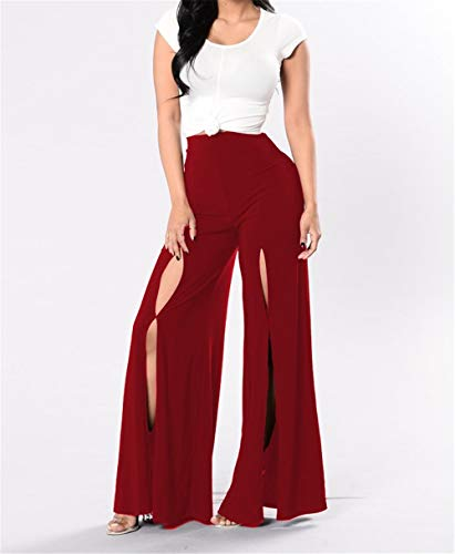 Women's Sexy Flared Pants, Loose Trousers, Harem Pants, high Waist Pants(Red Small)