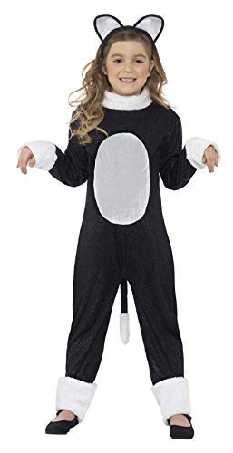 Smiffys Children's Cool Cat Girl Costume, Jumpsuit, Tail & Headpiece, Color: Black, Ages 10-12, Size: Large, 33156L ()