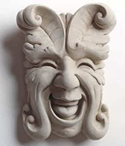 Cast Stone Laughing Smiling Leaf Face - Collectible Botanical Nature Plaque - Concrete Indoor / Outdoor Sculpture