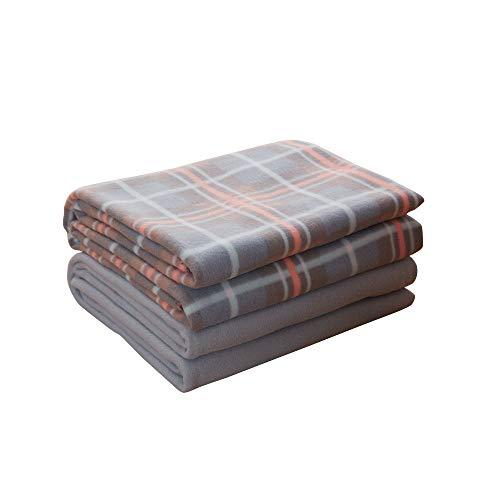 CAI TENG Fleece Blanket Throw Super Soft Cozy All Season Polar Fleece Blanket for Bed Couch Sofa or Travel, Easy Care (Blush Plaid, Pack of 2-60 x 80 inch) 100% Polyester Polar Fleece