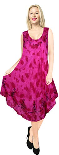 Handmade Ladies Tie Dye - LA LEELA Rayon Tie Dye Vacation Party Sundress Pink 650 Plus Size