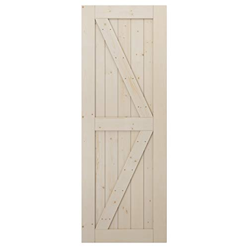 LD Build 30in x 84in Sliding Barn Door, Natural Solid Wood Door Panel for 26in-28in Opening (Fit 5FT Track), Unfinished…