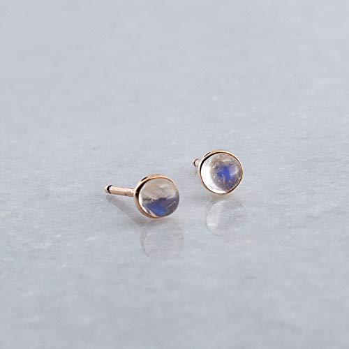 Moonstone 3mm Stone 14K Rose Gold Stud Earrings