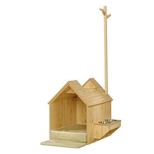 Dog Food Wood Pet House Wooden Construction Home Furniture Indoor Light Pine With Food And Water Shelf - Skroutz by Skroutz
