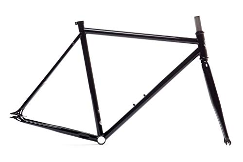 State Bicycle Co Fixed Gear Fixie Chromoly Frame and Fork Set, Gloss Black, 55cm