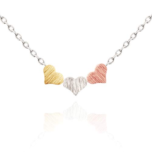 (MUSTHAVE Triple Multi Heart Necklace, 14K Rose Gold Plated & Anchor Chain, Rose Gold & White Gold & Yellow Gold Multi Color, Size 16 inch + 2 inch Extender (White)