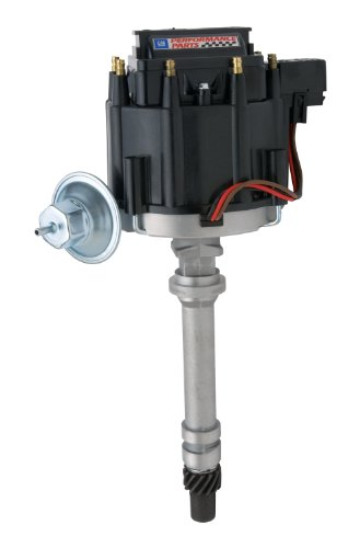 Proform 141-682 Adjustable Vacuum Advance HEI Distributor with Steel Gear and Black Cap for Chevy ()