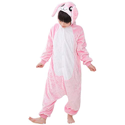 Kids Onesie Pajamas Hoodie Animal Costume Cosplay Pink Bunny M