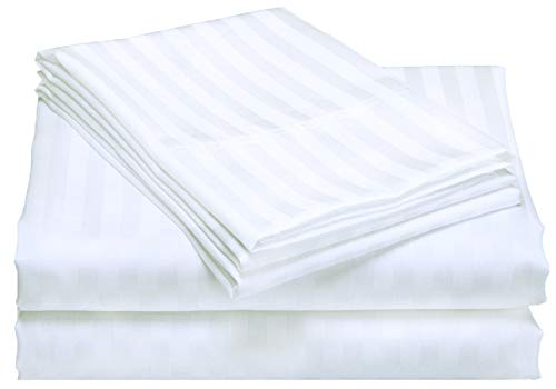 Clairvoyance 400 Thread Count 100% Cotton Damask Stripe Twin Sheets Set, Fits Mattress Upto 16'' Deep Pocket, Sateen Weave, Soft Cotton 3 Piece Sheets and Pillowcase Set- White (Sheets Damask Twin)